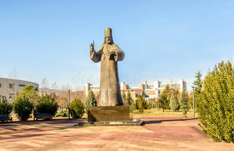 Statua di Petar I Petrovic Njegos a Podgorica, Montenegro fotografie stock