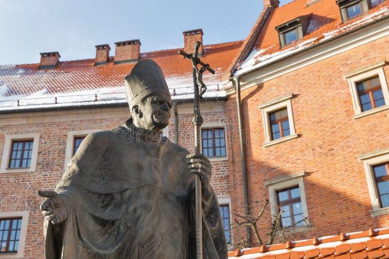 Statua di Pope John Paul Ii Wawel, Cracovia, Polonia immagine stock