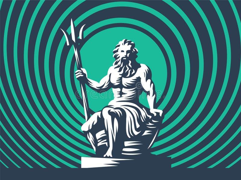 Statua di Poseidon o di Nettuno con un tridente illustrazione di stock