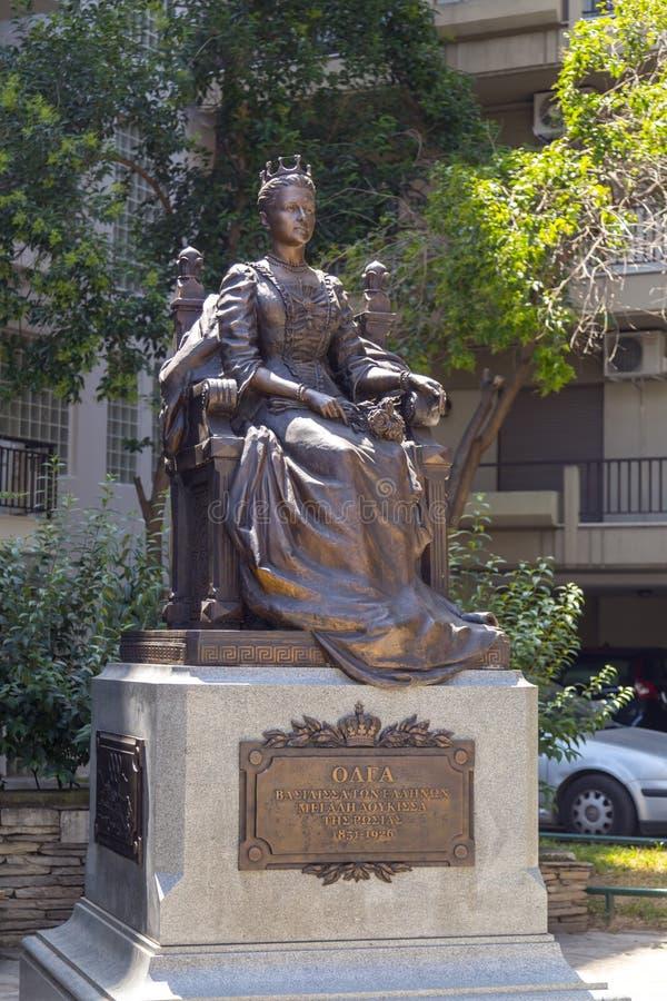 Statua di principessa Olga a Salonicco immagine stock
