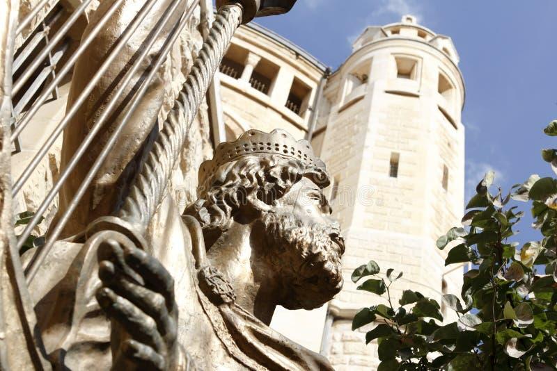 Statua di re David a Gerusalemme immagine stock libera da diritti
