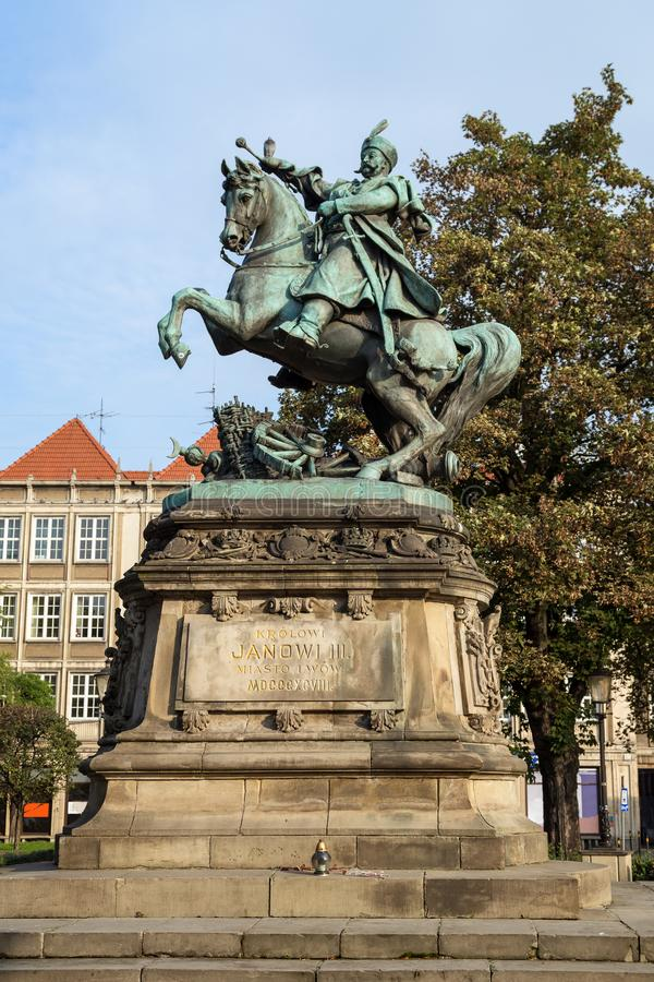 Statua di re Giovanni III Sobieski a Danzica fotografia stock libera da diritti