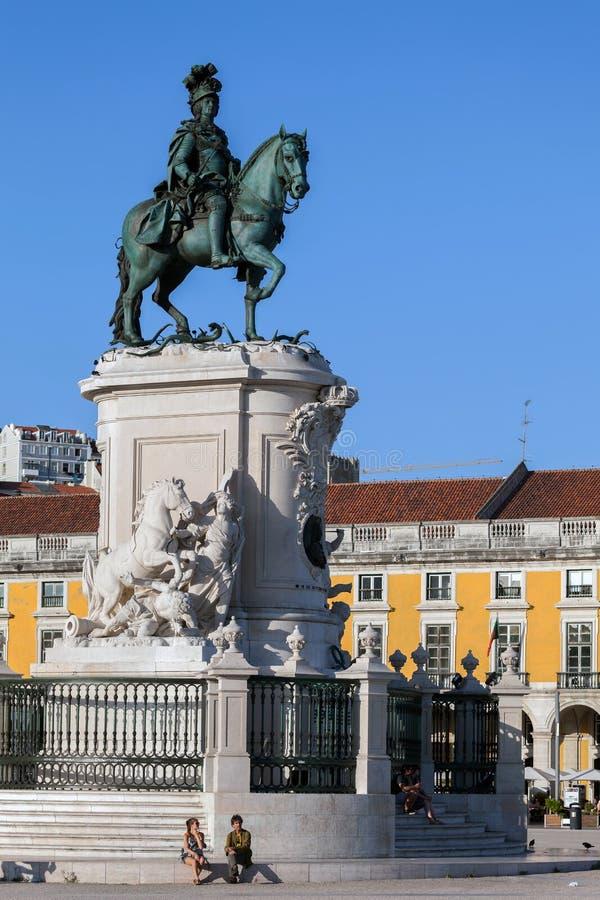 Statua di re Jose I a Lisbona immagini stock libere da diritti