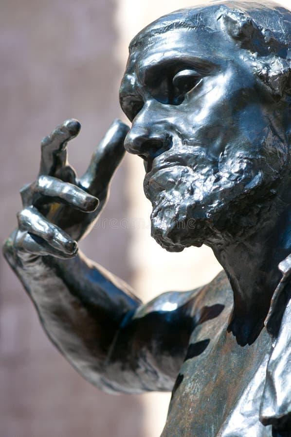 Statua di Rodin, jaques de Wissant, all'aperto. immagine stock libera da diritti