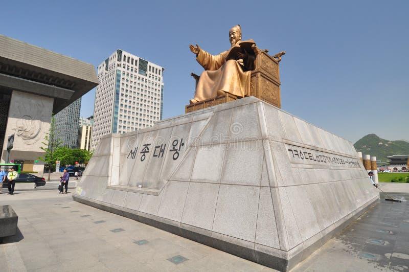 Statua di Sejong le grande, Corea del Sud fotografia stock