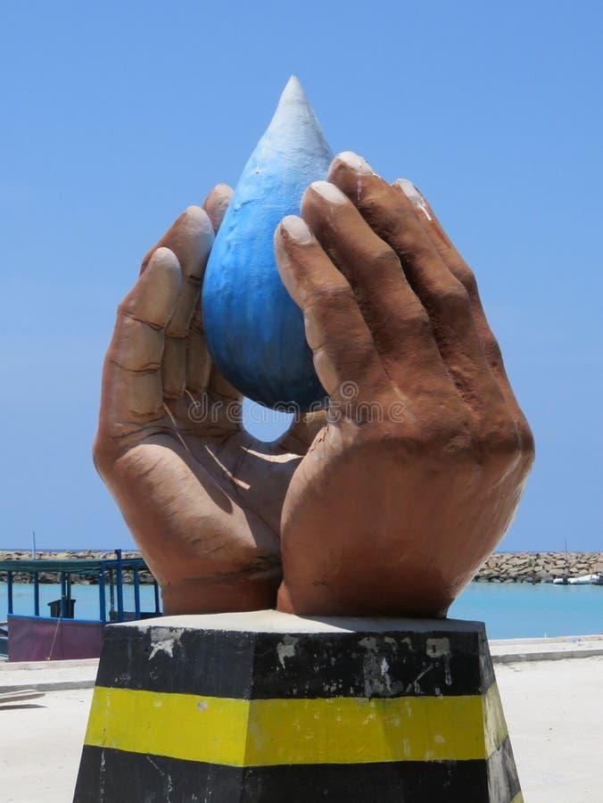 Statua di simbolo in Maafushi, Maldive fotografie stock libere da diritti