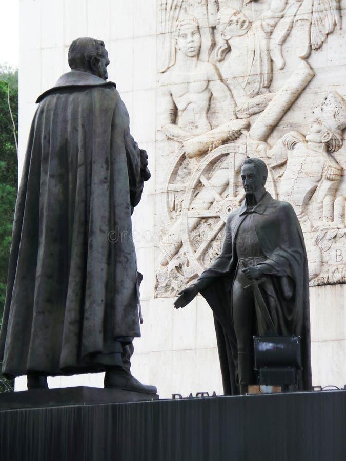 Statua di Simon Bolivar e di altri eroi di indipendenza, monumento di indipendenza, Los Proceres, Caracas, Venezuela fotografia stock