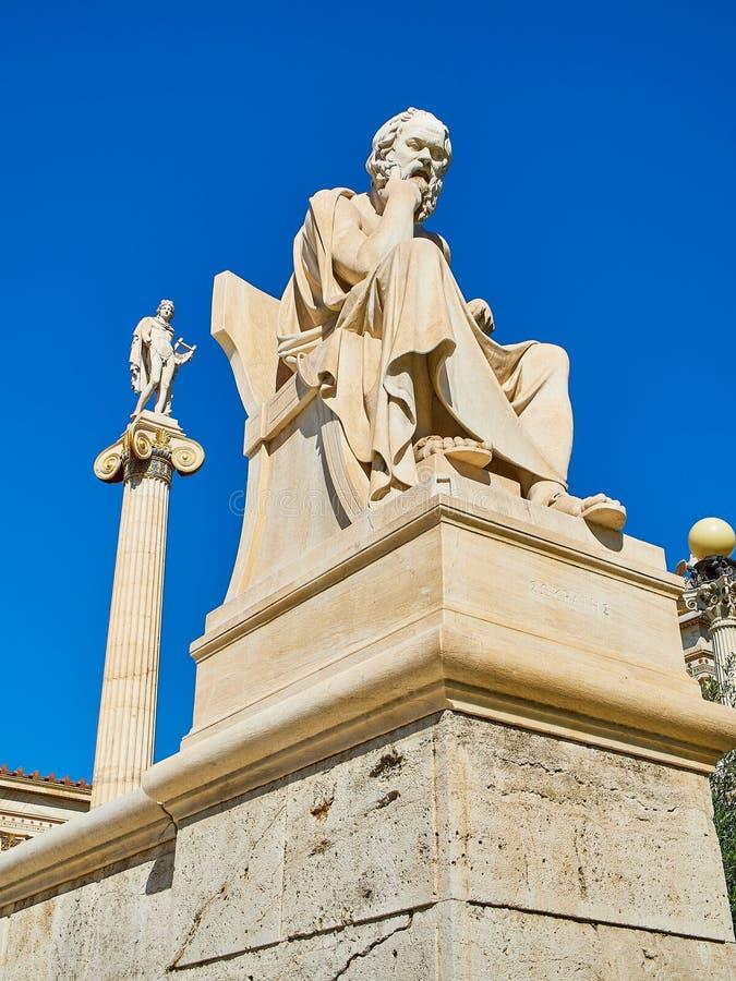 Statua di Socrates Accademia di Atene Attica, Grecia immagini stock