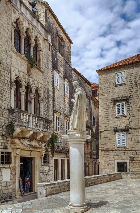 Statua di St Lawrence, Traù, Croazia immagine stock