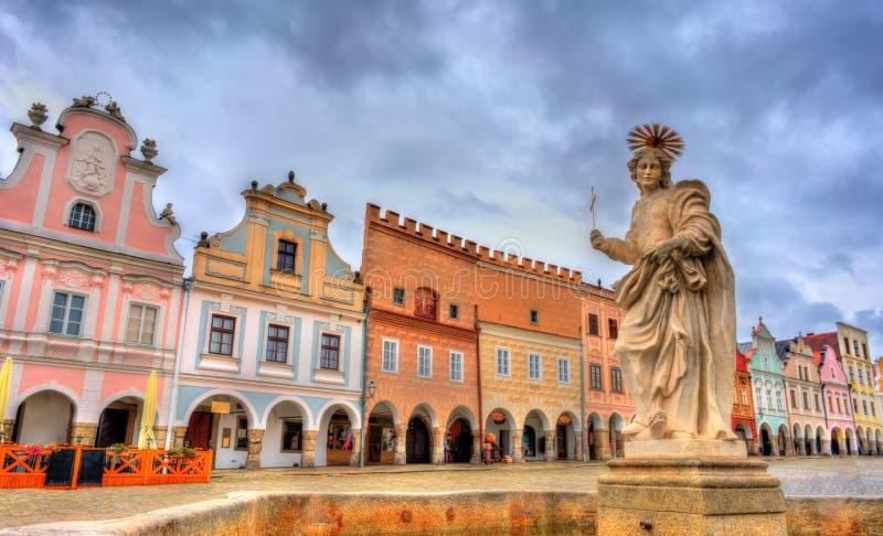 Statua di St Margaret in Telc, repubblica Ceca fotografia stock