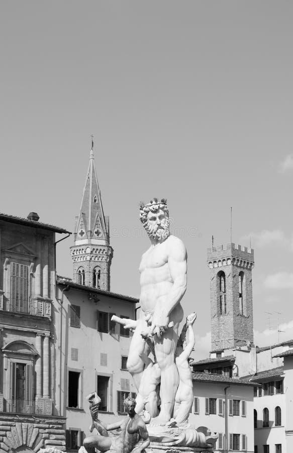 Statua di Tritone in della Signoria della piazza a Firenze, Toscana immagine stock libera da diritti