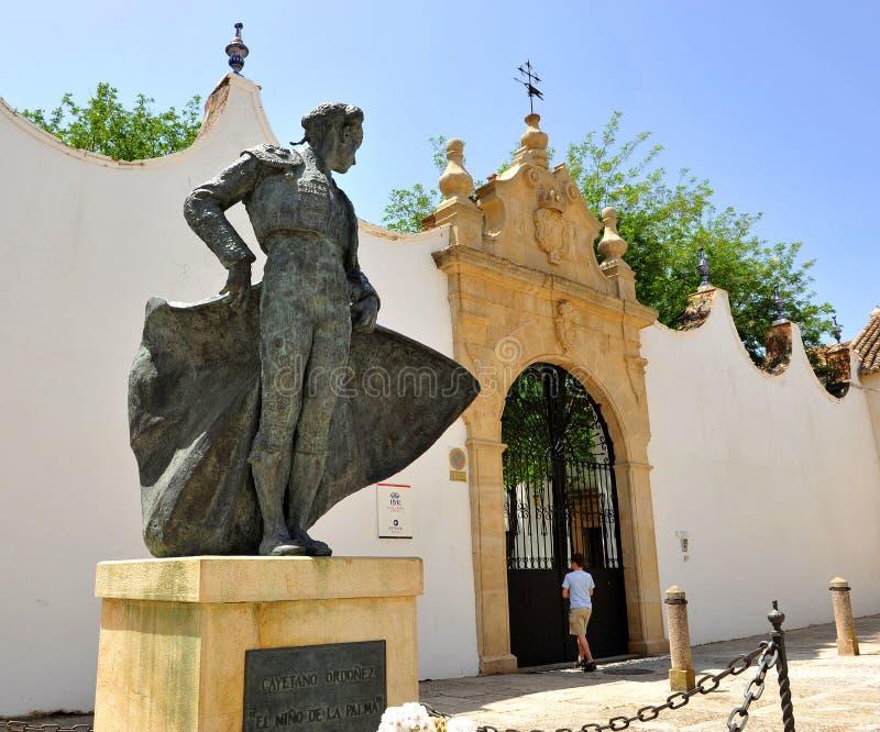 Statua di un matador, toreador, a Ronda, provincia di Malaga, Spagna fotografie stock