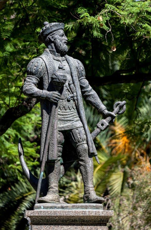 Statua di Vasco da Gama a Evora immagine stock