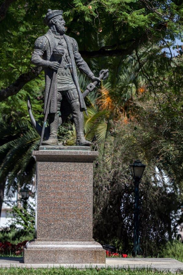 Statua di Vasco da Gama a Evora fotografia stock libera da diritti