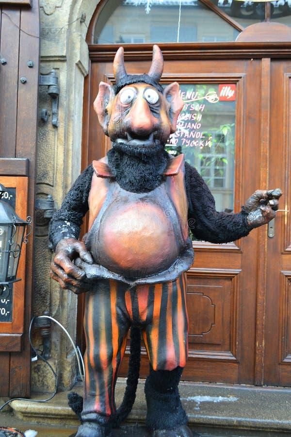 Statua diabeł w Praga fotografia stock