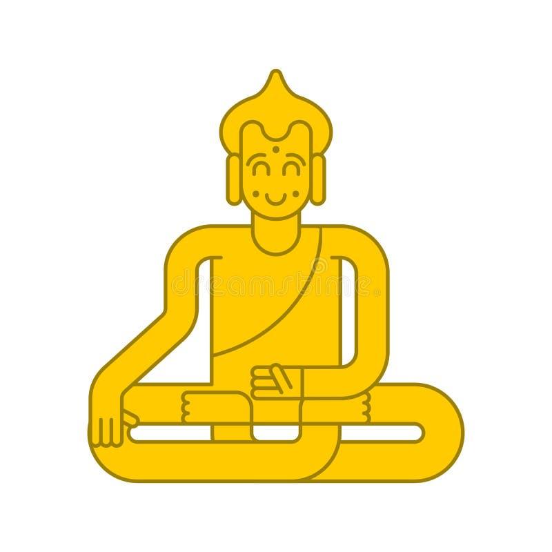 Statua dorata del Buddha Meditazione e chiarimento attrac magico illustrazione di stock
