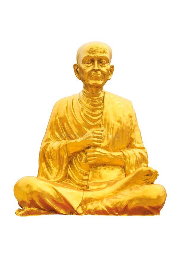 Statua dorata di meditazione di budha in isolato bianco immagine stock libera da diritti