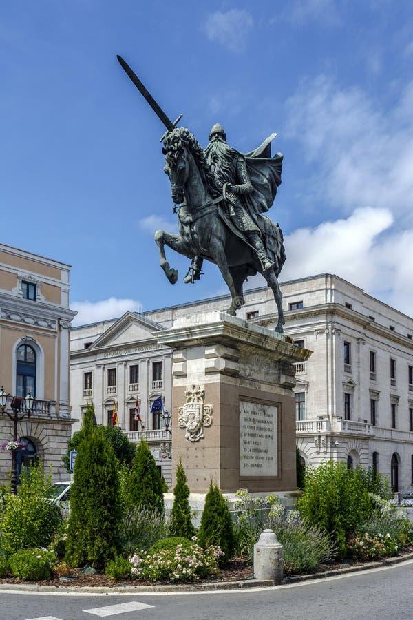 Statua El Cid w Burgos, Hiszpania zdjęcia stock