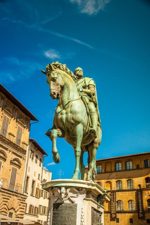 Statua equestre di Cosimo de 'Medici a Firenze fotografia stock