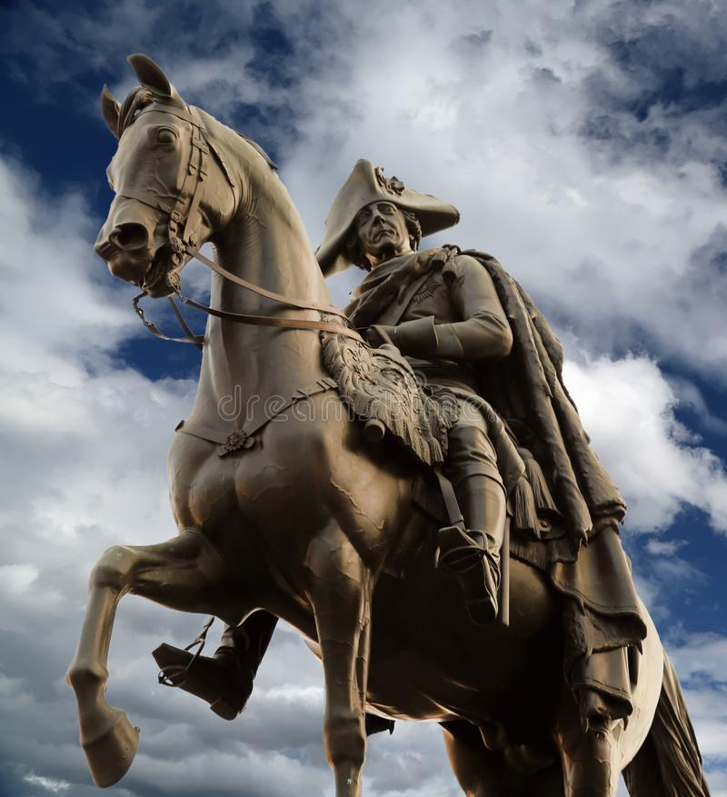 Statua equestre di Frederick le grande a Berlino fotografie stock libere da diritti