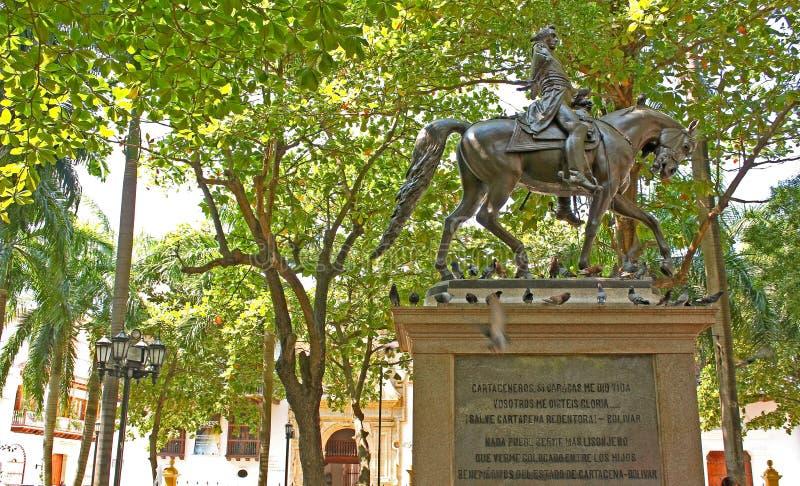 Statua equestre di Simon Bolivar a Cartagine de Indias, Colom fotografie stock