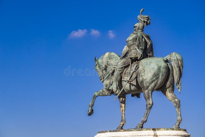 Statua equestre di Vittorio Emanuele II su Vittoriano Altar o fotografia stock