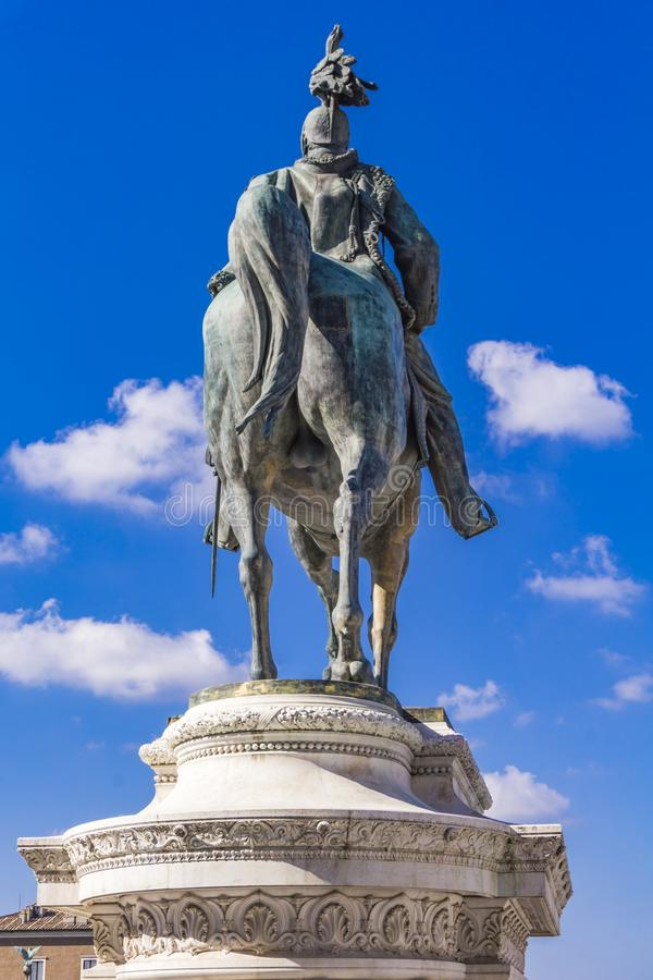 Statua equestre di Vittorio Emanuele II su Vittoriano Altar o fotografie stock libere da diritti