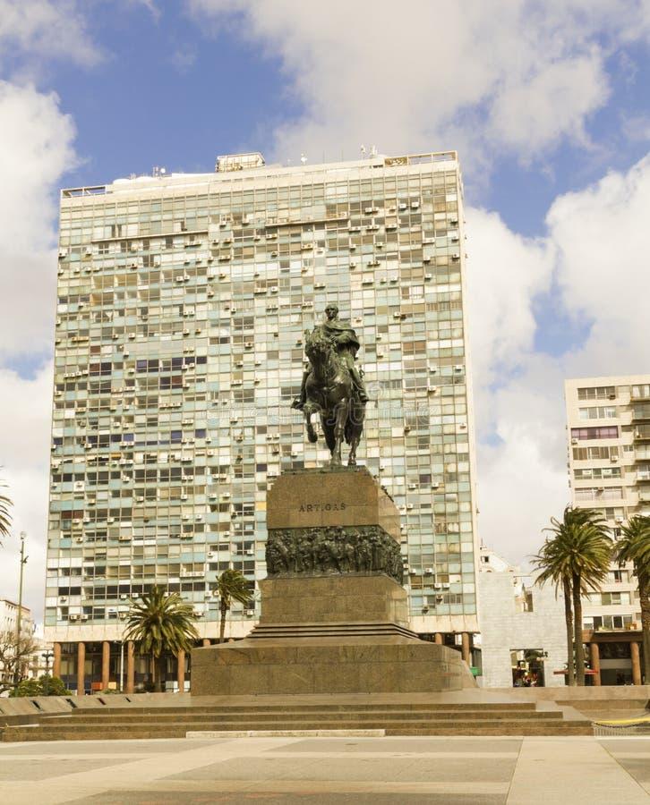 Statua generał Artigas w Montevideo, Urugwaj zdjęcie stock