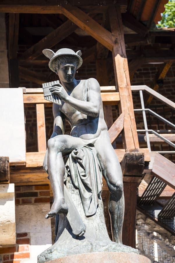 Statua Hermes przy Florian bramą jeden miasto bramy w Krakow Polska obrazy royalty free
