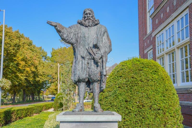 Statua Hydrauliczny inżynier Leeghwater Przy Hoofddorp holandie obraz stock