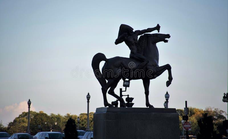 Statua indiana equestre dell'arciere, Chicago Illinois fotografia stock