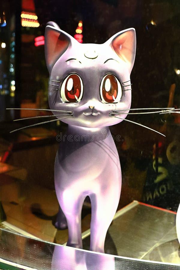 Statua Japonia kreskówki Sailor Moon Luna Krystaliczny kot fotografia stock