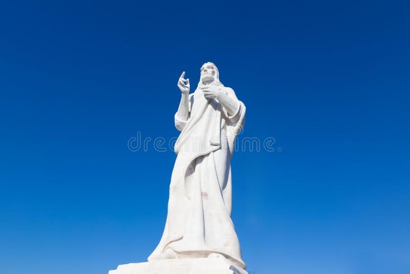 Statua jezus chrystus w Hawańskim na tła niebieskim niebie, Kuba obrazy royalty free