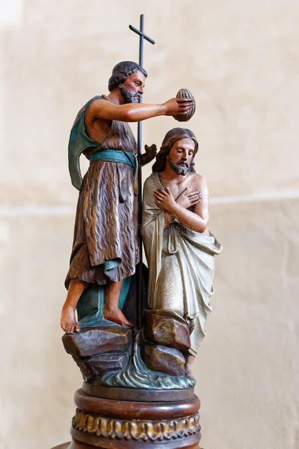 Statua John Baptystyczny chrzci Jezus obrazy royalty free