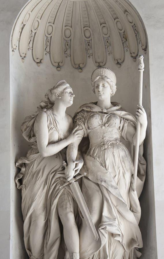Statua Justitia et Clementia in Hofburg, Vienna fotografia stock