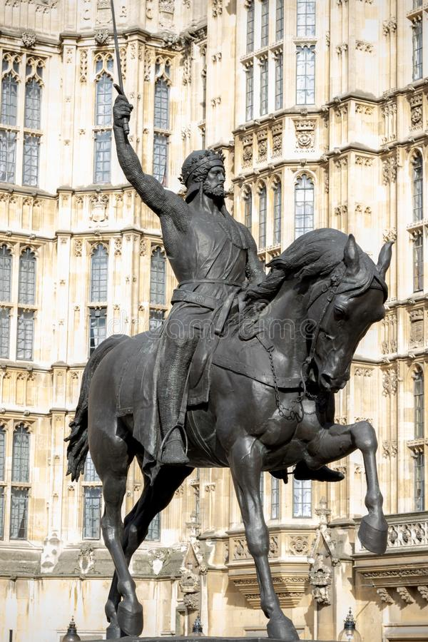Statua królewiątko Richard 1st Anglia Richard Lionheart fotografia stock