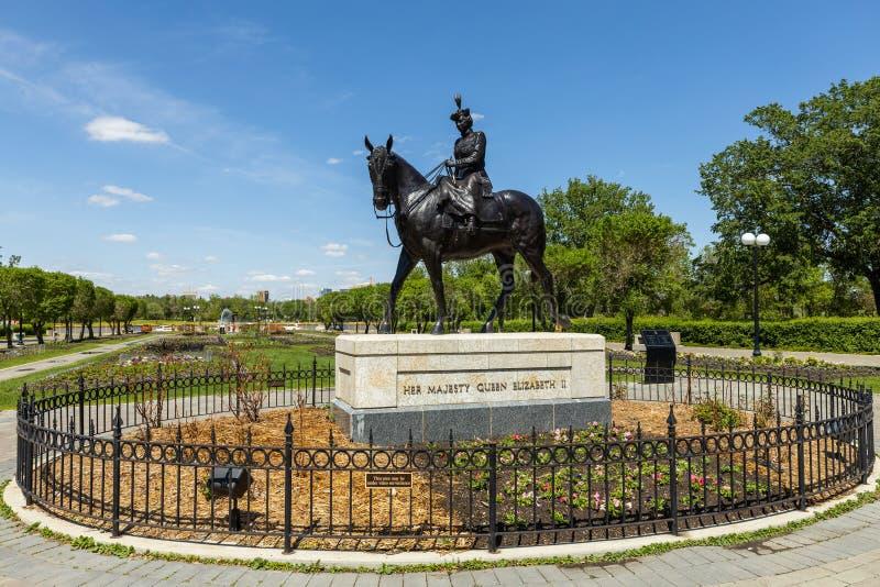 Statua królowa Elisabeth w Regina obrazy royalty free