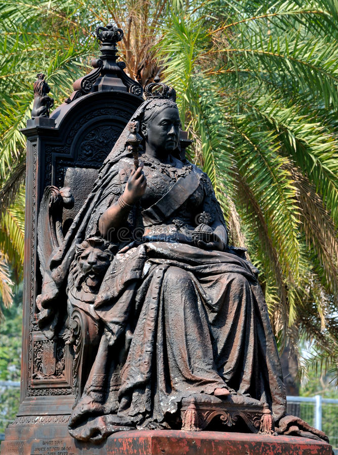 Statua Królowa Wiktoria W Hongkong Wiktoria Parku Obraz Stock