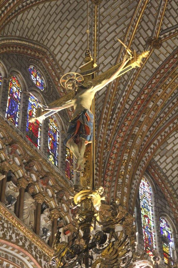 Statua krzyżowanie Jezus, katedralny Toledo obraz royalty free