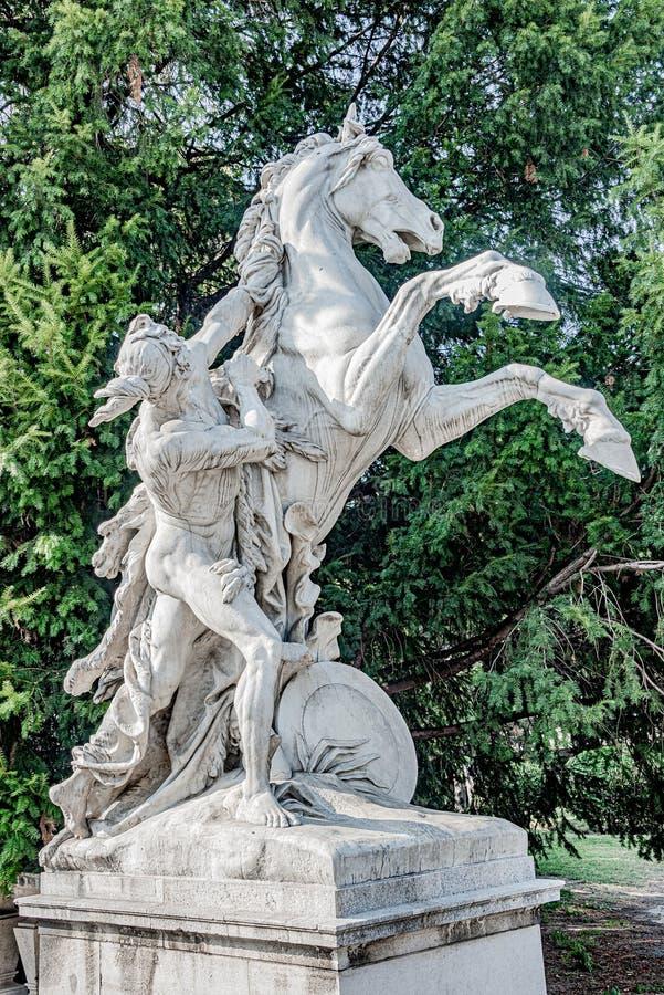 Statua młody przyrodni nagi myśliwy próbuje obłaskawiać konia, lokalizować w muzeach okręgi, śródmieście w Wiedeń, Austria zdjęcia stock