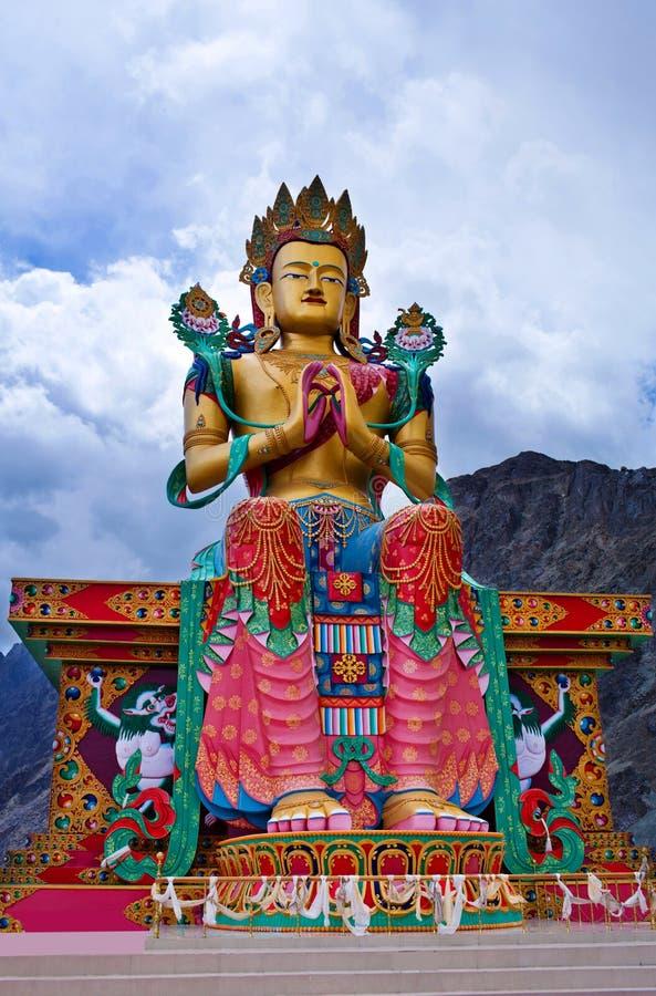 Statua Maitreya Buddha blisko Diskit monasteru w Nubra dolinie, obraz royalty free