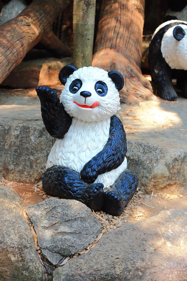 Statua metallica del panda fotografia stock