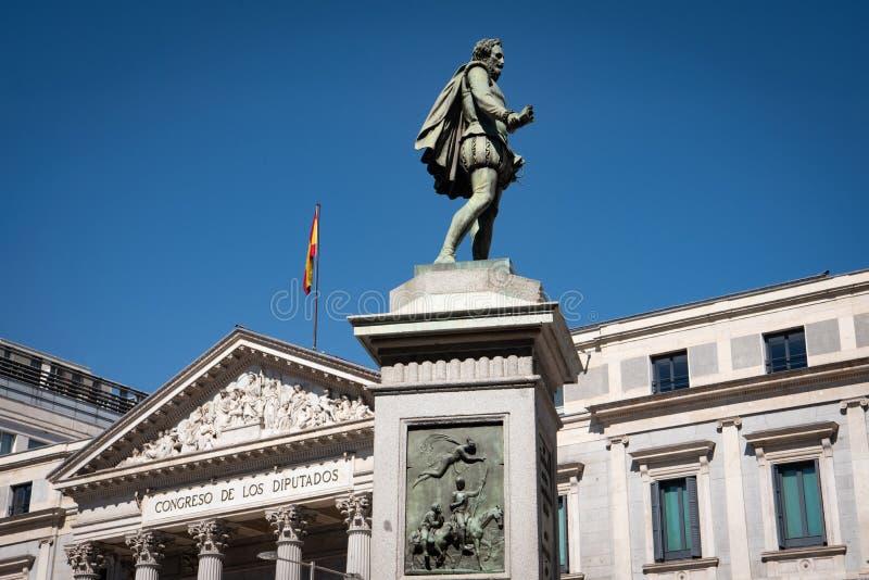 Statua Miguel Cervantes Madryt Hiszpania zdjęcie stock