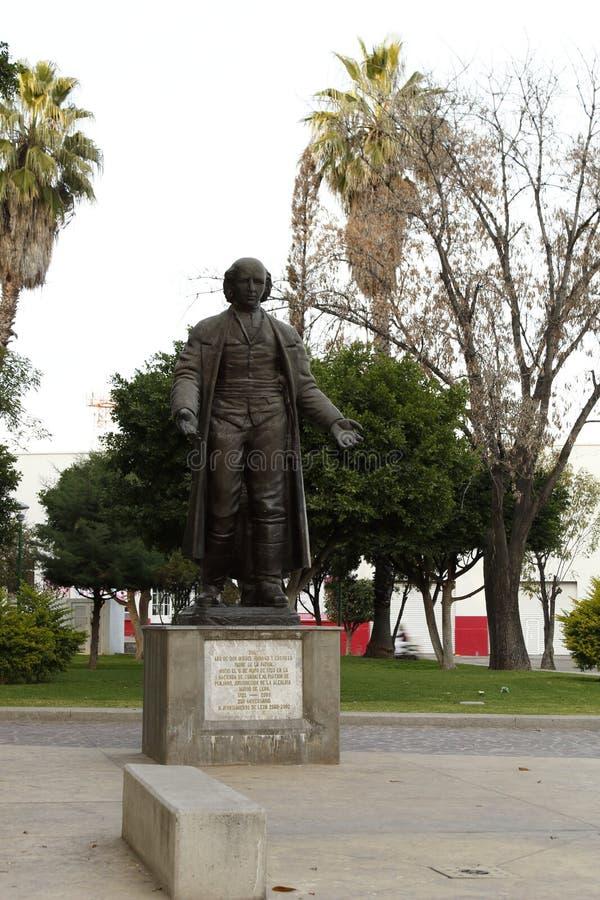 Statua Miguel hidalgo przy hidalga parkiem, Leon, Guanajuato zdjęcia royalty free