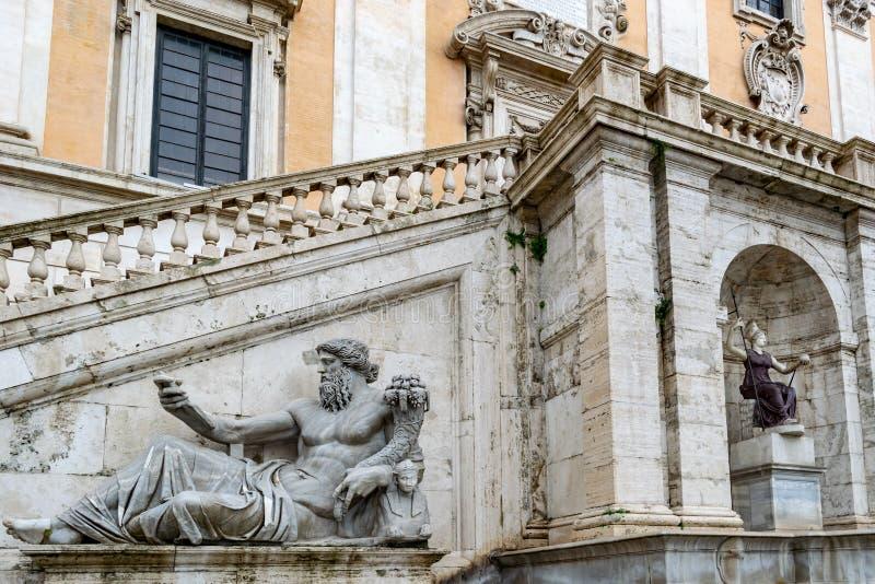 Statua Nil Rzeczny bóg na Kapitolińskim wzgórzu, Rzym zdjęcie stock