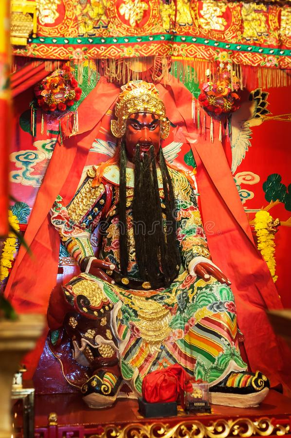 Statua popularna Chińska bóg Guan Yu inside cyny Hau świątynia, Sai zdjęcia royalty free