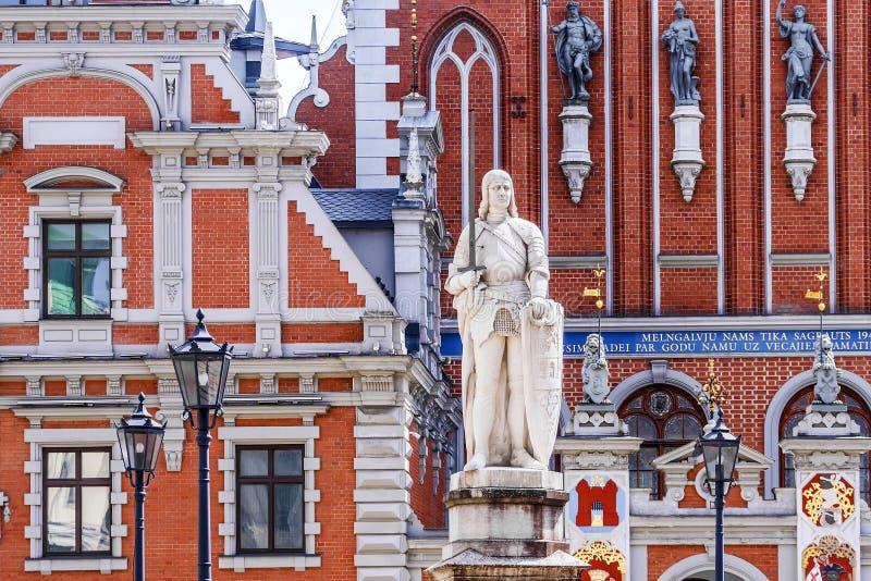 Statua Roland jest jeden kluczowi przyciągania Ryski, loca zdjęcia stock
