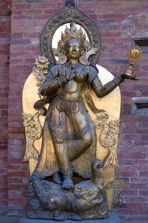 Statua rzeczna bogini Ganga w Royal Palace w Patan, Kath zdjęcie stock