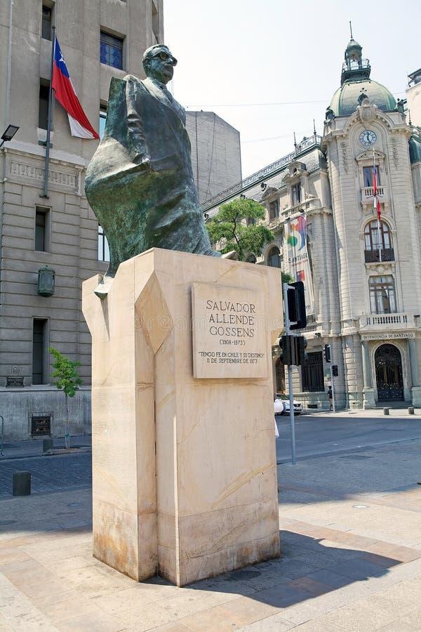 Statua Salvator Allende, Santiago de Chile, Chile fotografia royalty free