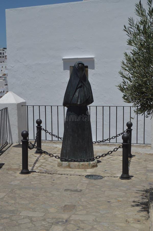 Statua schronienie W Vejer Natura, architektura, historia, Uliczna fotografia Lipiec 12, 2014 Vejer De los angeles Frontera, Cadi zdjęcie royalty free